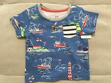 New Baby Boy Mini Boden Shirt Size 3-6 Month Blue Red Ships Nautical Beach