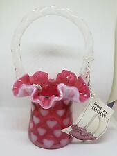 Fenton Glass Basket Heart Optic  with tags FREE SHIPPING vintage antique
