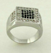 White ring men high fashion with clear and black stone