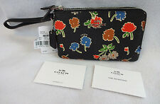 NWT Coach 55763 Black Daisy Field Double Corner Zip Wallet Wristlet Purse Floral