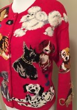 Design Options Women's Small Philip Jane Gordon Red Sweater Show Dogs Flag