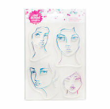 NEW Jane Davenport Acrylic Eyes Lips Face Stamps 4 Pieces for Watercolor Paint