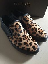 New $595 Gucci Men's Leopard Print Colf Hair Sneakers 8G ( 8.5 US ) Italy