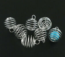 20 Silver Plated Spiral Charm Pendants Bead Cages Jewelry Finding 25x20mm
