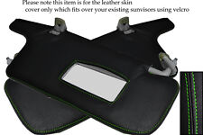 GREEN STITCH FITS SUBARU LEGACY 1998-2003 2X SUN VISORS LEATHER COVERS ONLY
