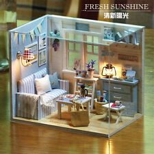 DIY Wooden Dollhouse Miniature Kit w/2pcs LED Light&Dust Cover Blue Room
