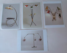 X4 1950s lighting/ lamp design POSTCARD lot/ set light retro vintage desk floor