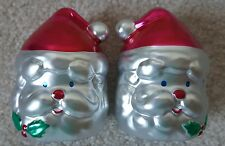VINTAGE KASHIMA ART DECO CHRISTMAS SANTA SALT AND PEPPER SHAKERS NEW RED SILVER