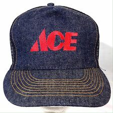 ACE Hardware Denim Blue Jean Trucker Hat Snapback Mesh Cap Vintage Made USA
