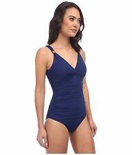 Ralph Lauren Laguna Shirred Surplice Underwire One Piece Swimsuit Indigo Blue 12