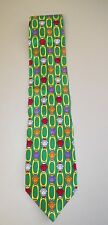 MEN'S GIANNI VERSACE GREEN SILK TIE WITH GOLD CHAINS & COLORFUL MEDUSA HEADS