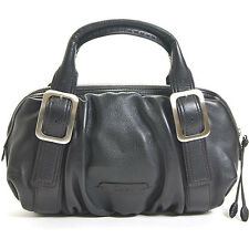 NEW COLE HAAN 263$ Village Soft EW Black Pebble Leather Ruched Satchel Bag Purse