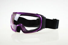 Ski Snowboard Snowmobile Motorcycle Goggles Off-Road Clear Lens Purple