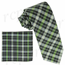 "New Milani Men's Polyester 3"" Neck Tie & hankie set checker plaid Green"