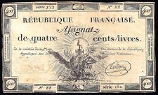 FRANCE French Assignats P-A73 400 LIVRES  1792  VF