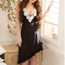 Women Sexy Lingerie Night Sleepwear Lace Babydoll Dress Black Asian S - M E08141