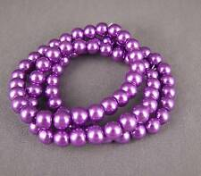 Purple faux pearl set 3 stretch bracelet plastic bead beads stacking stack