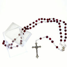 Glass faceted birthstone rosary beads January garnet colour gift box Catholic