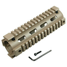"New Aluminum 4 Rails Carbine Length 6.7"" Handguard Picatinny Quad Rail - Tan"