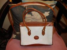 VTG. DOONEY & BURKE White/Brown Leather Speedy Doctor Bag w/Fob ~ EUC!