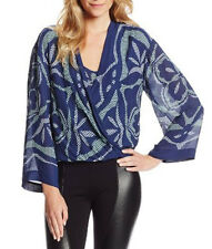 "$298 BCBG BLUE DEP COMBO ""RUTHIE"" LONG SLEEVE PRINTED WRAP BLOUSE TOP NWT M"