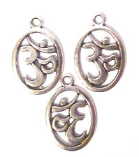 3x AUM OM SYMBOLS SILVER COLOUR OVAL DISC CHARM 19mm x 15mm Approx.