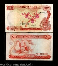 SINGAPORE $10 P3c 1967 BOAT ORCHID *W/O SEAL* SCARCE BRUNEI WORLD CURRENCY NOTE