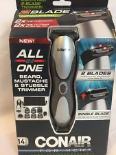Conair Cordless/ Rechargeable All in One Facial Hair Trimmer New 2 Blades Beard