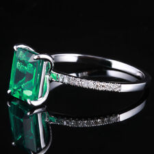 14K White Gold Plated Diamond Engagement Wedding 8x6mm Radiant Emerald Ring