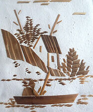 Banana or Palm Leaf Collage Scene:  Fisherman, Pirogue (Boat) & Hut ~ Madagascar