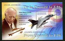 Romania 2016 MNH Aviation Anniversaries Coanda to F-16 1v M/S Stamps