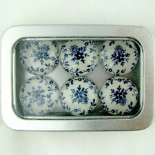Set of 6 Glass Magnets in Window Box Blue Toile Flowers