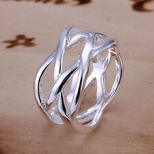 Lowest price wholesale solid silver fashion mesh ring size 6,7,8,9,10+box DR09
