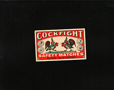 VINTAGE Match Matchbox Label DEEP RICH COLOR Cock Fight Rooster Sweden E1