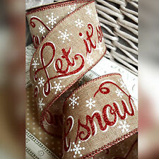 Wired Hessian Let It Snow Christmas Ribbon Gift Bow Cake Tree Wreath Red Glitter