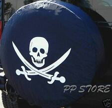 """Soft SPARE TIRE COVER w/ Pirate Skull h2 for large size 34.5"""" - 35.5"""" / 17 rims"""