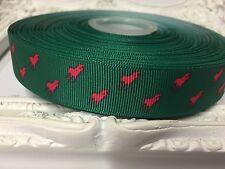1 Metre Horse Print Polo Grosgrain Ribbon Designer 22mm Cakes Bow Dummy Green