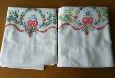 Vintage Embroidered Ribbon Floral Swag Pillowcase Set Pair