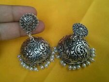 ELEGANT  SILVER PLATED LONG HEAVY  JHUMKA JHUMKI WITH BEADS FOR GOSSIP GIRLS,NEW