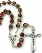 NEW MADE IN ITALY MADONNA WITH STARS RED CLOISONNE BEAD ROSARY  LOVELY ROSARY