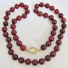 "GUMP'S Vintage 28"" Chinese Carnelian Agate 13mm Bead Necklace w/ 14K Gold Clasp"