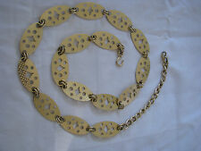 "Women's VTG Retro Gold Metal  Oval Chain Link Belt 39"" End To End"