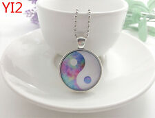 Silver Yin and yang Jewelry Necklace Glass Dome Pendant Necklace#YI2