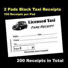2 Pads of 100 Black Taxi Cab / Licensed Taxi Receipts - 200 Receipts - FREE P&P