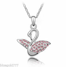 18K Gold Plated Swan Crystal Pendant Necklace made with Swarovski Crystals