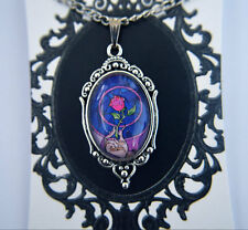 Beauty and the Beast - stained glass Rose - Disney inspired necklace