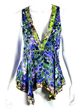ROBERTO CAVALLI Multi-Color Abstract Floral Silk Sleeveless Blouse 44