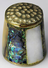 """Vintage THIMBLE Artisan Silver with Abalone Shell & Mother-of-Pearl Inlays 3/4"""""""