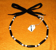 1 Row Black Horn Hairpipe Choker Necklace Native American Iroquois