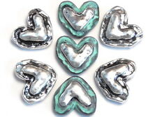 7 - 2 HOLE SLIDER BEADS HAMMERED LOOK RUSTIC SILVER & COPPER PATINA HEARTS